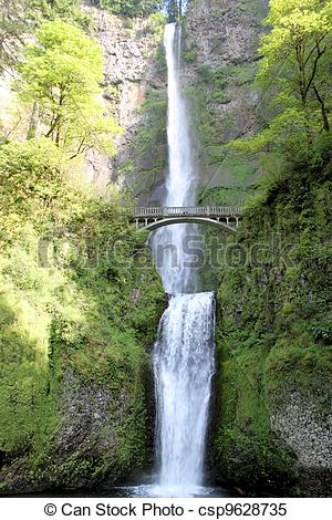 Stock Images of Multnomah Falls in Oregon.