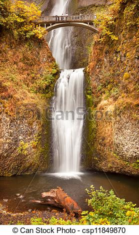 Picture of Multnomah Falls Waterfall Autumn, Fall Bridge Columbia.