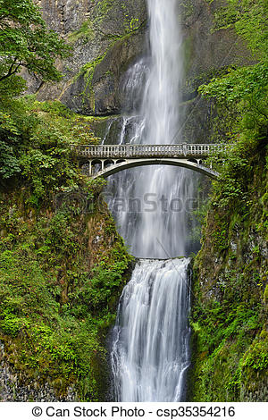Stock Photography of Benson Bridge over Multnomah Falls, Columbia.