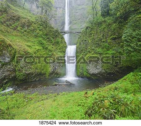 Stock Photo of oregon, united states of america; multnomah falls.