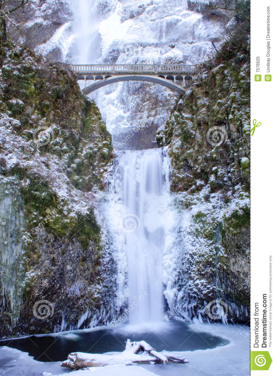Multnomah Falls Frozen Royalty Free Stock Photo.