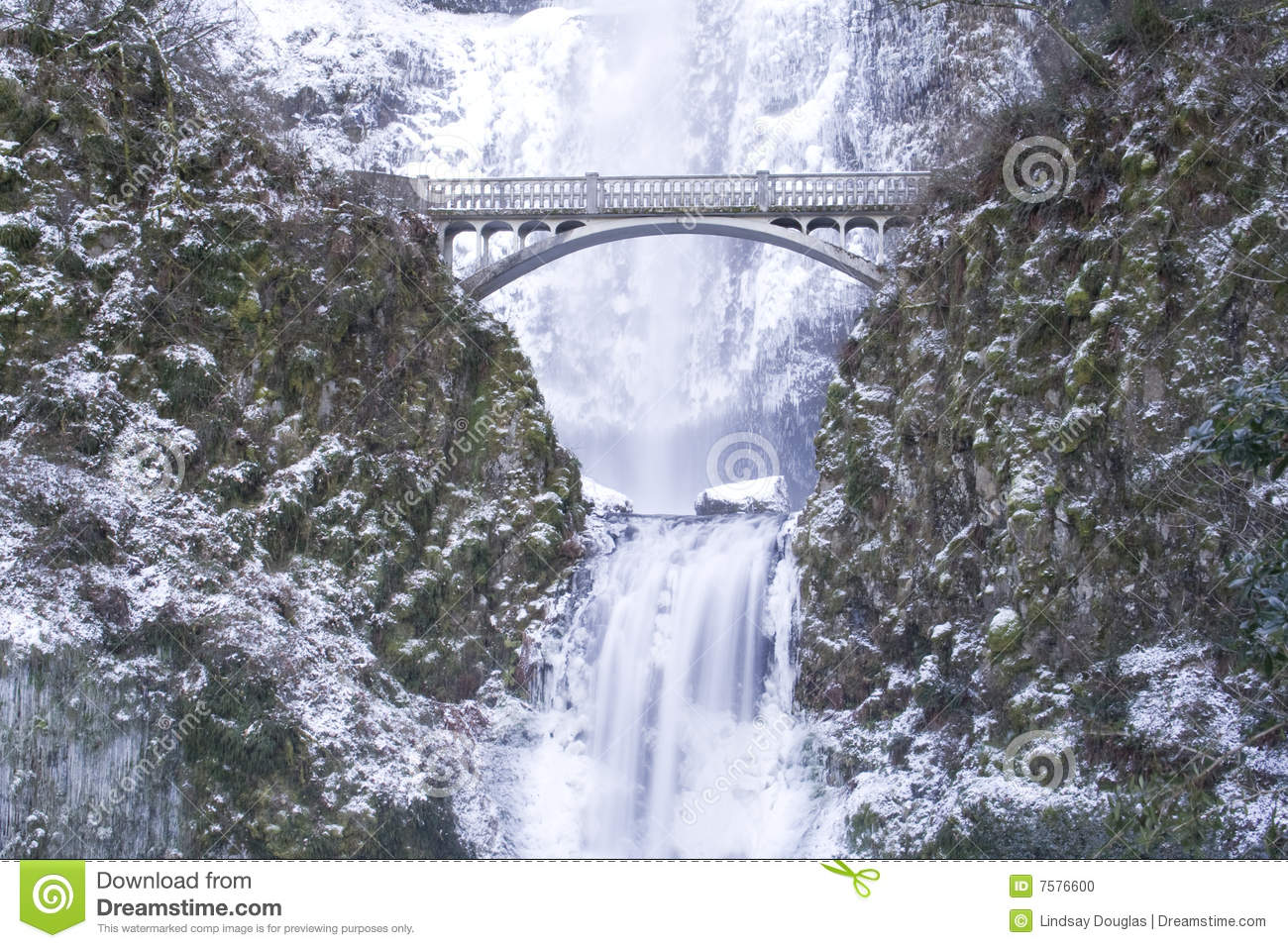 Multnomah Falls Frozen Stock Photo.