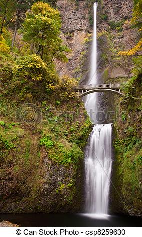 Stock Photography of Multnomah Falls Vertical Right.