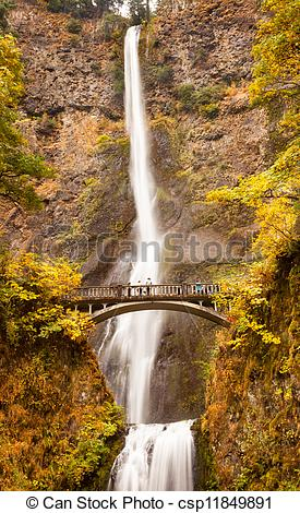 Stock Photographs of Multnomah Falls Waterfall Autumn, Fall Bridge.