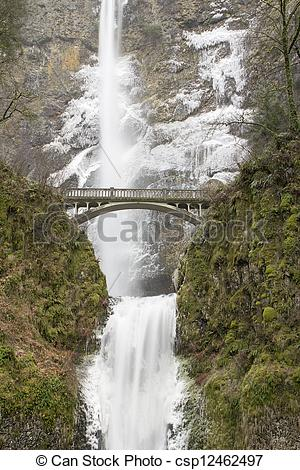 Stock Photographs of Bridge Along Hiking Trails at Multnomah Falls.