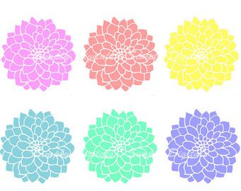 Items similar to Hand draw Clipart flower cliparts, dahlia.