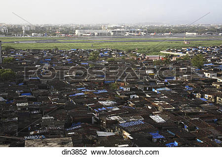 Stock Photo of Slum area near Santacruz Airport ; Vakola ; Bombay.