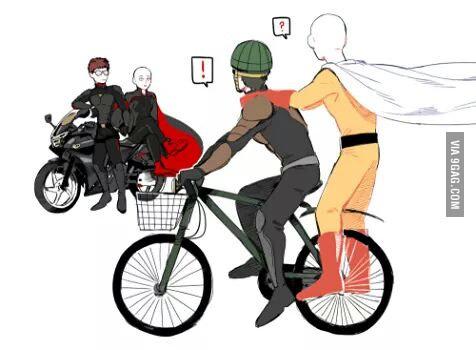 Mumen rider and saitama meets the devil version of themselves..