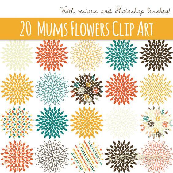 CLIP ART: Starburst Flowers // Mums // Vector & PNG // Photoshop.
