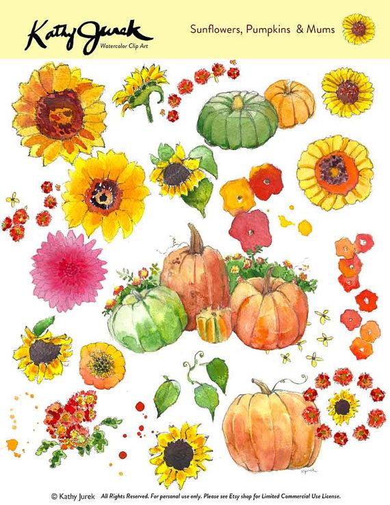 Mums And Pumpkins Clipart.