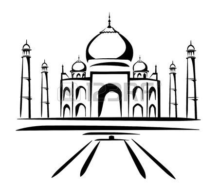 Taj Mahal Vector Illustration, Symbol In Black Lines Royalty Free.