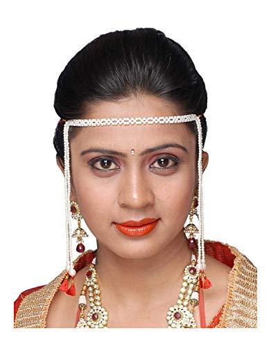 Anuradha Art White Pearl Maharashtrian Mundavalya for Women.