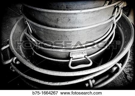 Picture of aluminum cookware set in the kitchen of the Monastery.
