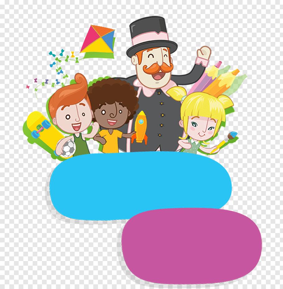 Three children and one man animated illustration, Bita e os.