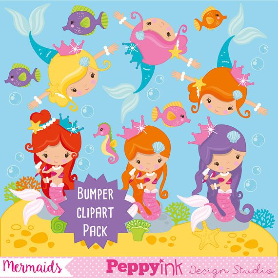 Mermaids clipart commercial use, Mermaids clipart vector.