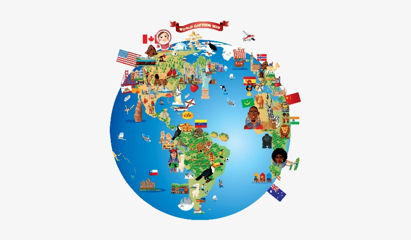 Cartoon Map Of World Clipart.