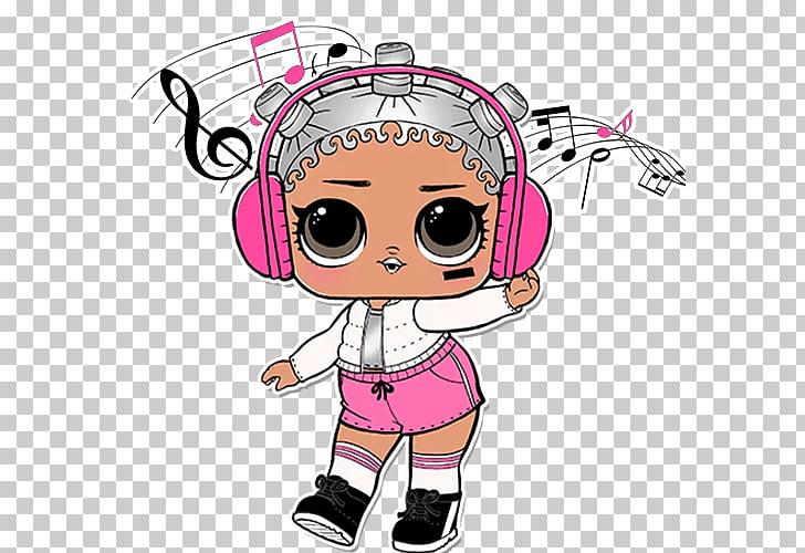 Niña con auriculares color rosa ilustración, muñeca l.o.l..