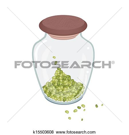 Clip Art of A Lot of Mung Beans in Glass Bottle k15503608.