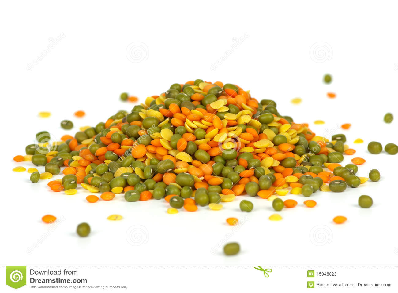 Mixed Green Mung Beans Yellow Split And Red Football Lentils.