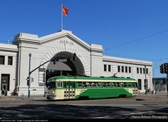 San Francisco Municipal Railway tram 496 passes one of the more.