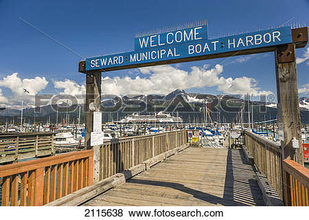 Pictures of Welcome Sign To The The Seward Municipal Boat Harbor.