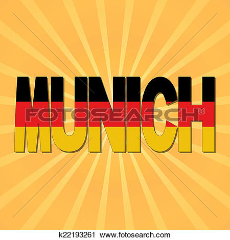 Clipart of Munich flag text with sunburst illustration k22193261.