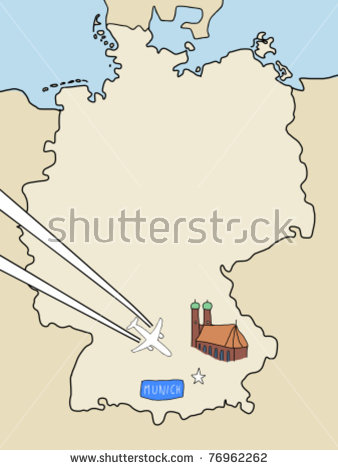 Visit Munich Outline Map Germany Plane Stock Vector 76962262.