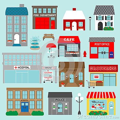 Town Buildings Clipart Stock Illustration.