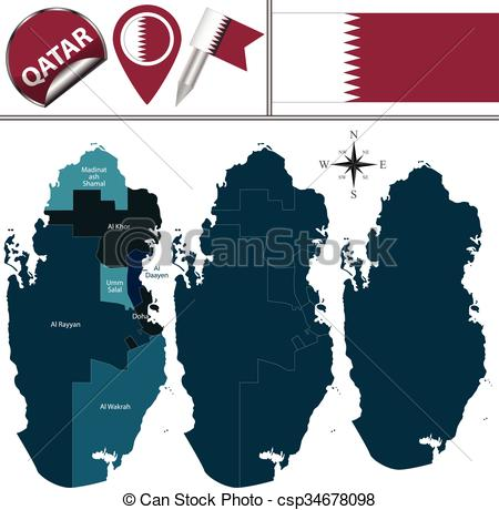 EPS Vectors of Map of Qatar with named municipalities.