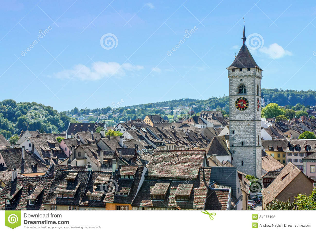 View Of Schaffhausen From Munot Fortress Stock Photo.