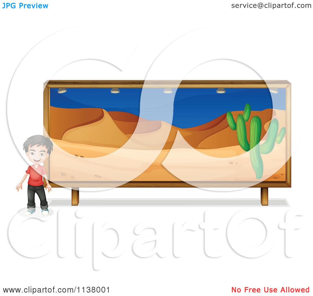 Cartoon Of A Boy By A Mural Painting Of A Desert.