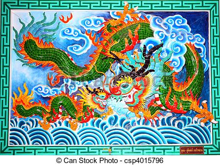 Stock Image of Chinese Temple Mural csp4015796.
