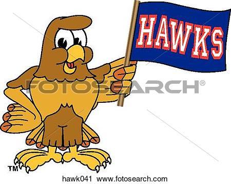 Clipart of Hawk holding Team Flag hawk041.