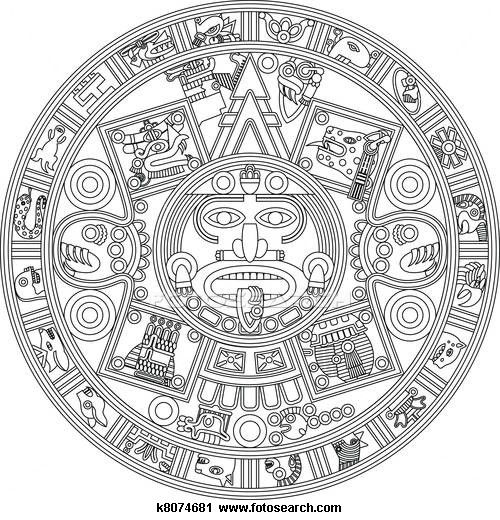 Clipart of Mayan Calendar Line Illustration k8074681.