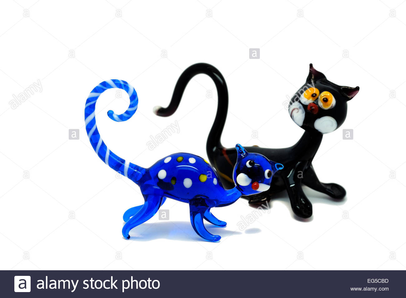 Two Murano Glass Cat Figurines Blue And Black As A Cut.