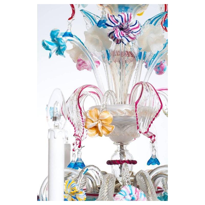 Italian Ca'rezzonico Chandelier in Murano Glass by Galliano Ferro.