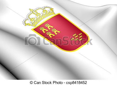 Clip Art of Region of Murcia Coat of Arms, Spain. Close Up.