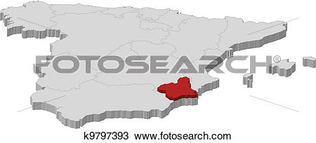 Clipart of Map of Spain, Murcia highlighted k9797393.