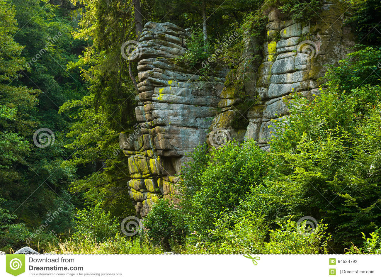 Rocky Landscape By The River Murg In The Murg Valley Stock Photo.
