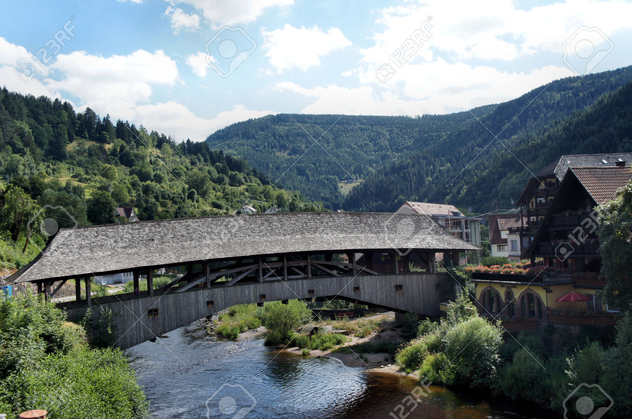 Roofed Wooden Bridge In The Murg Valley, Landmark Of Forbach.