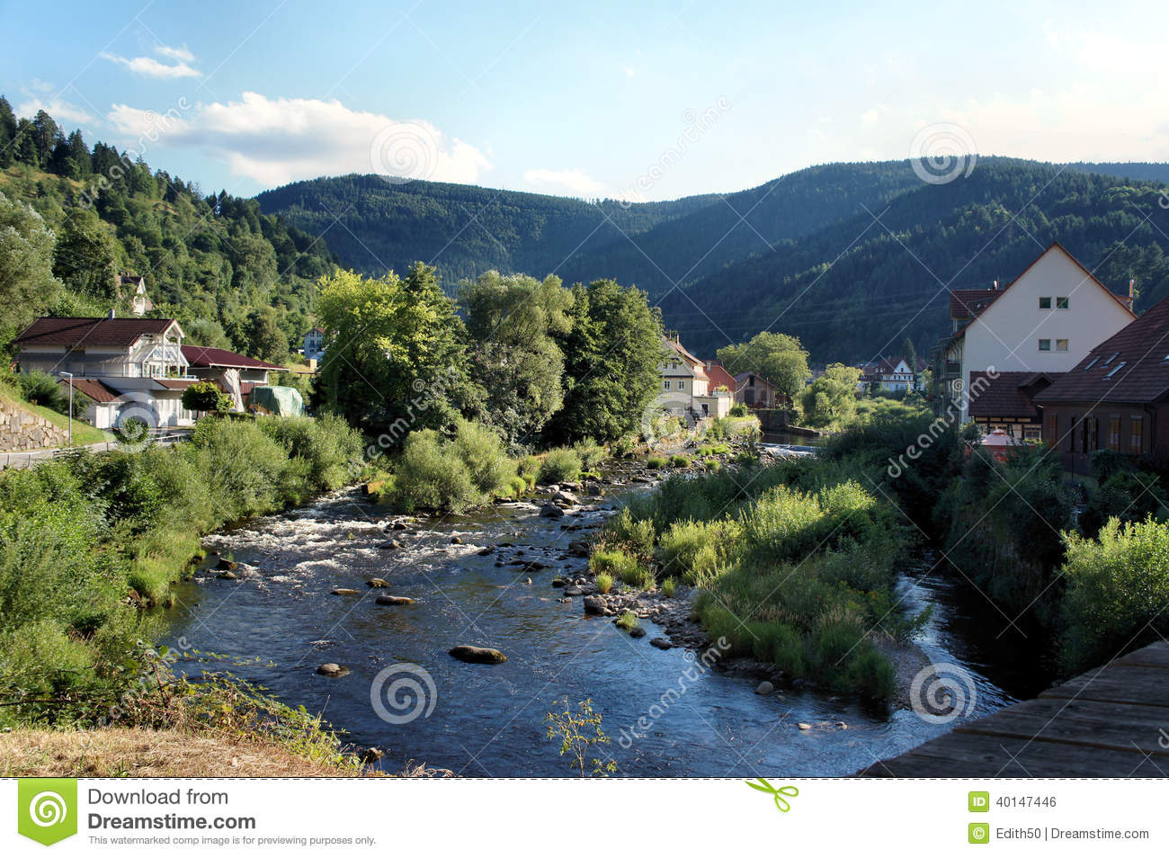 Wildly Romantic Murg Valley In The Black Forest Stock Photo.