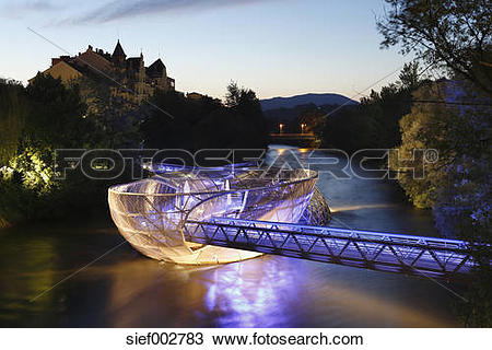 Stock Photo of Austria, Styria, Graz, View of Murinsel at River.