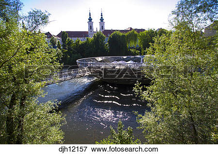Picture of Austria, Styria, Graz, Murinsel on Mur River.