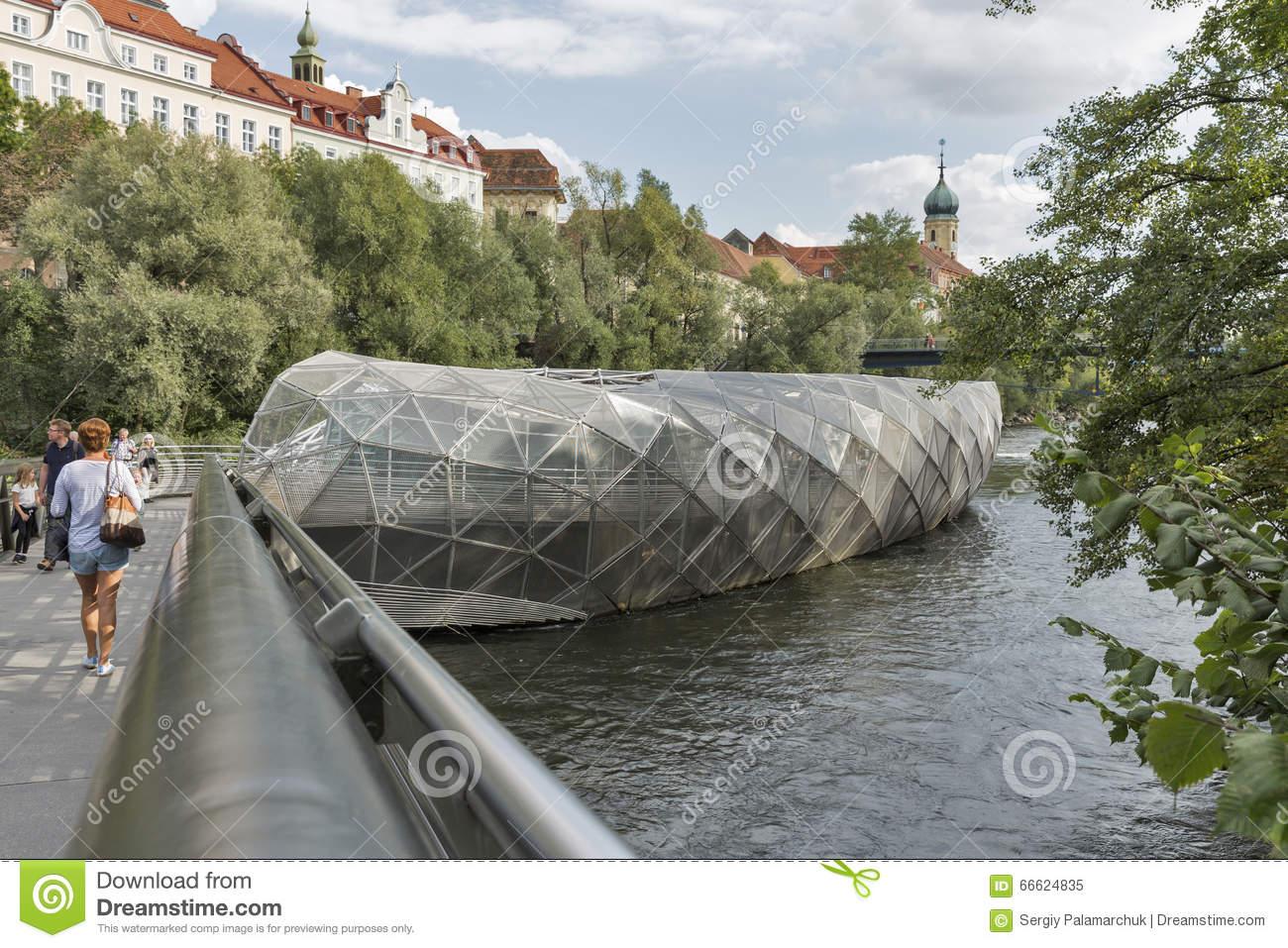 Murinsel Artificial Island On The Mur River In Graz, Austria.