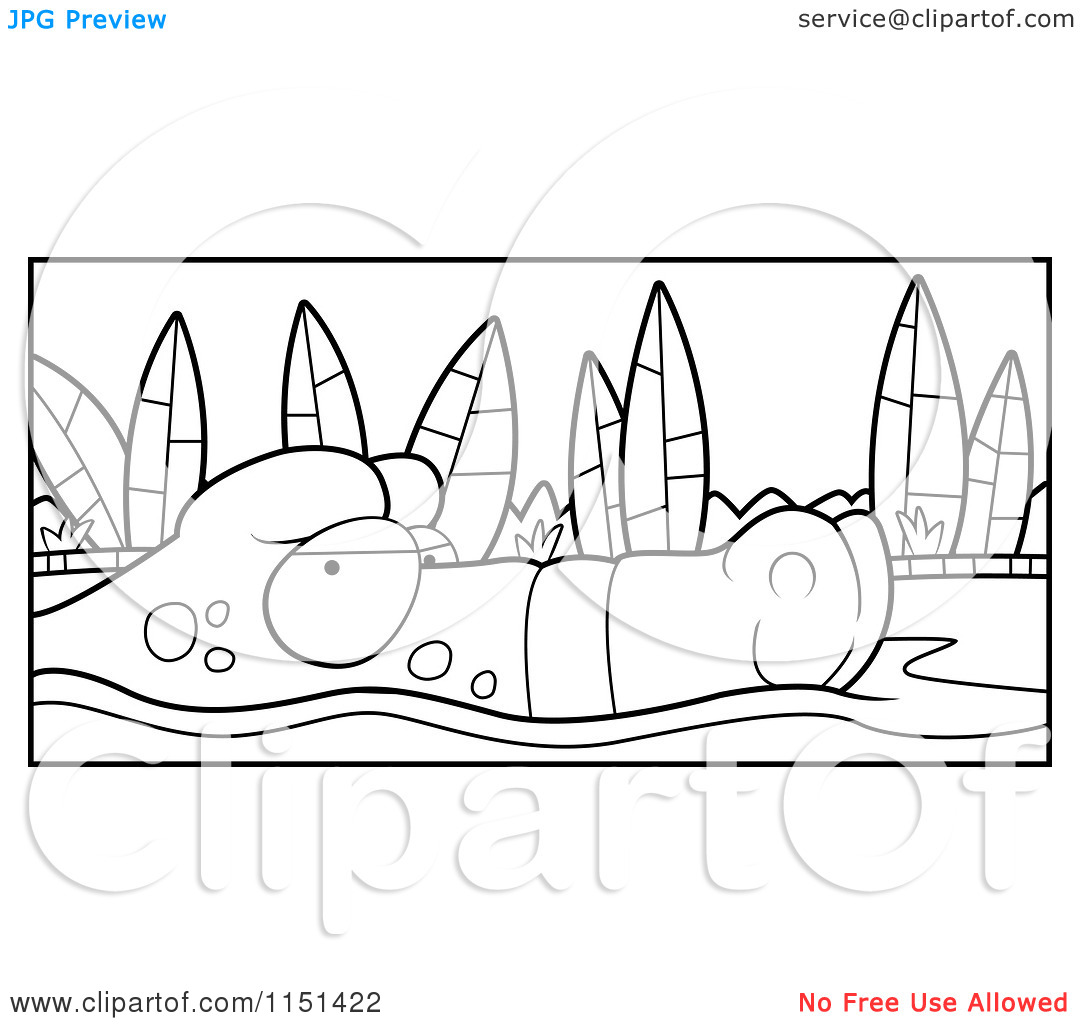 Cartoon Clipart Of A Black And White Swamp Gator Floating on Murky.