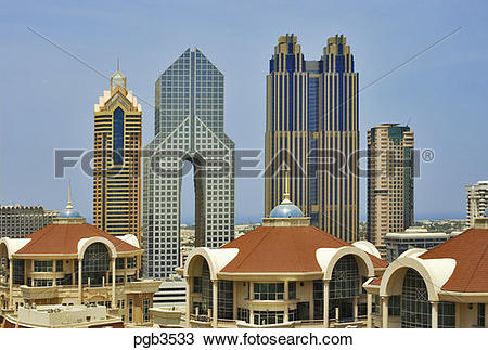 Stock Photo of Al Murooj Rotana Hotel apartments, arch of Dusit.