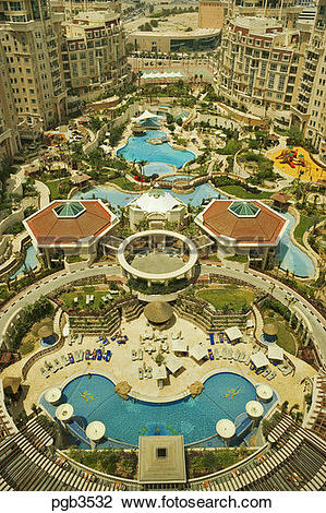 Stock Photo of Al Murooj Rotana Hotel and apartments, pool and.