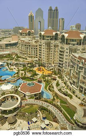 Stock Images of Al Murooj Rotana Hotel and apartments, pool and.