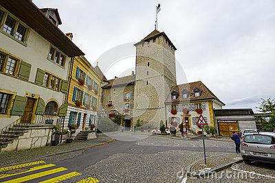 Old Town Murten, Switzerland Editorial Photo.