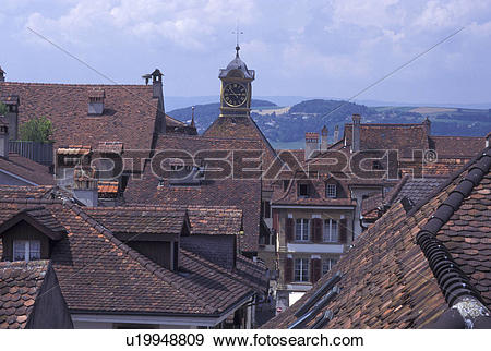 Stock Photograph of aerial, Switzerland, Fribourg, Aerial view of.
